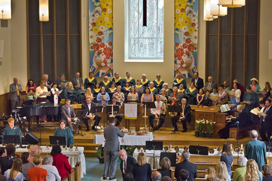 Members of the congregation join the Chancel Choir, the Joyful Ringers bell choirs, and the brass quintet in performing Handel's Messiah at the conclusion of Easter service at Grace Presbyterian Church, 7434 Bath Street, Springfield, Va.  27 March 2016